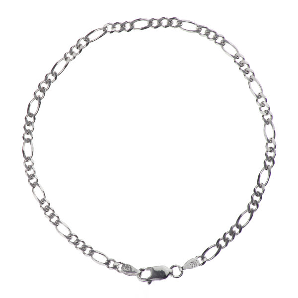 925 Sterling Silver 3.00 mm Beveled Dia-Cut Figaro Bracelet Chain With Lobster Clasp-RHODIUM FINISH
