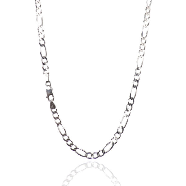 925 Sterling Silver 5.50 mm Beveled Dia-Cut Figaro Chain Necklace With Lobster Clasp-RHODIUM FINISH