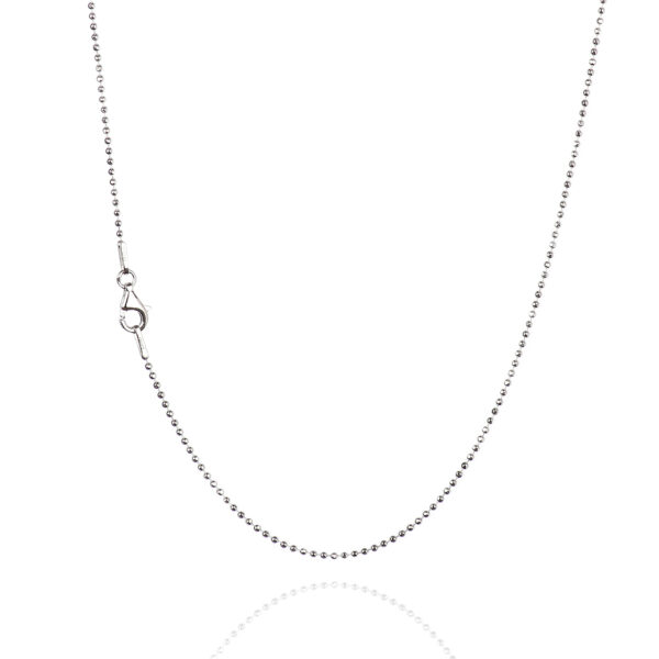925 Sterling Silver 1.20 mm Diamond-Cut Bead Chain Necklace With Pear Shape Clasp-RHODIUM FINISH