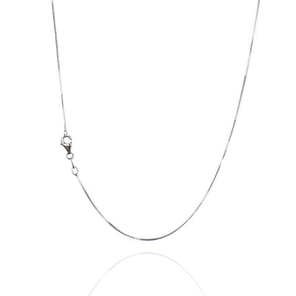 925 Sterling Silver 0.65 mm Diamond-Cut Box Chain Necklace With Pear Shape Clasp-RHODIUM FINISH