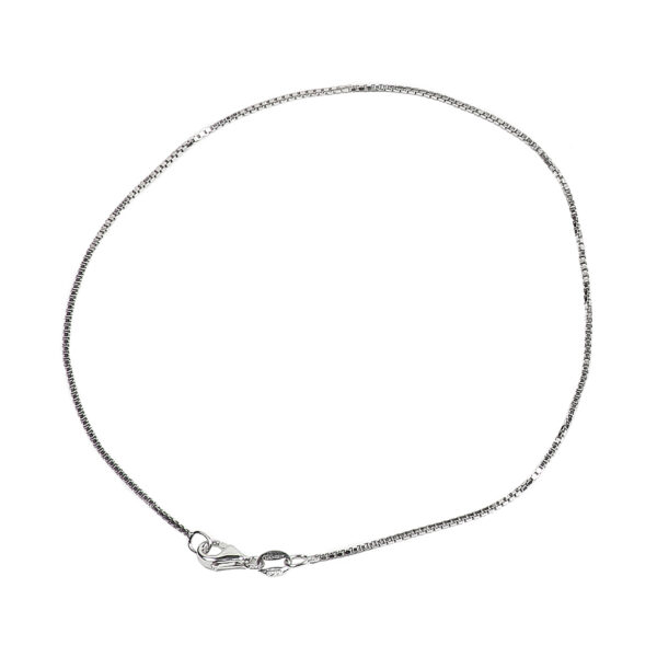 925 Sterling Silver 1.00 mm Diamond-Cut Box Chain Anklet With Pear Shape Clasp-RHODIUM FINISH
