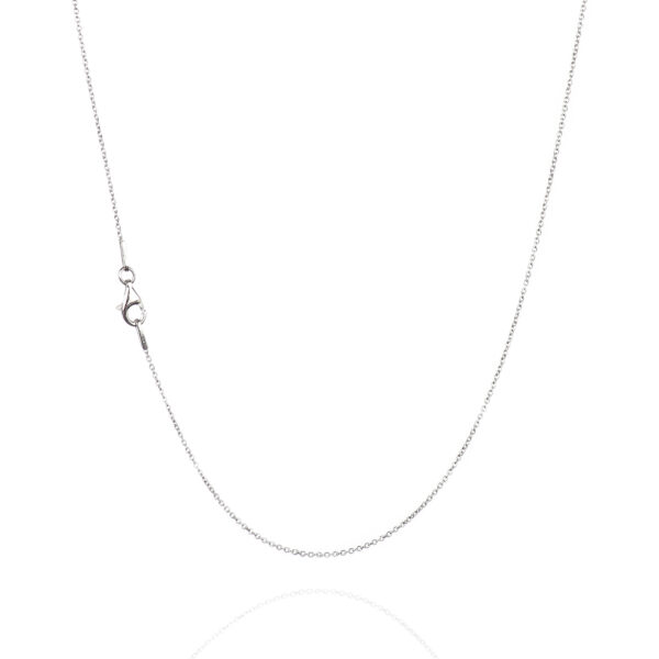 925 Sterling Silver 1.00 mm Cable Chain Necklace With Pear Shape Clasp-RHODIUM FINISH