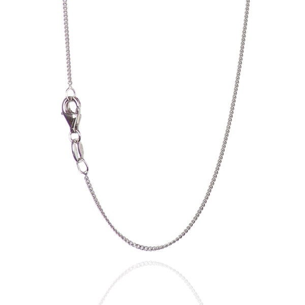925 Sterling Silver 1.05 mm Diamond-Cut Curb Chain Necklace With Pear Shape Clasp-RHODIUM FINISH