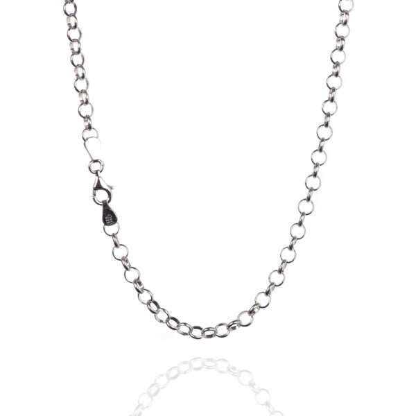 925 Sterling Silver 5.10 mm Round Rolo Necklace Chain With Pear Shape Clasp-RHODIUM FINISH