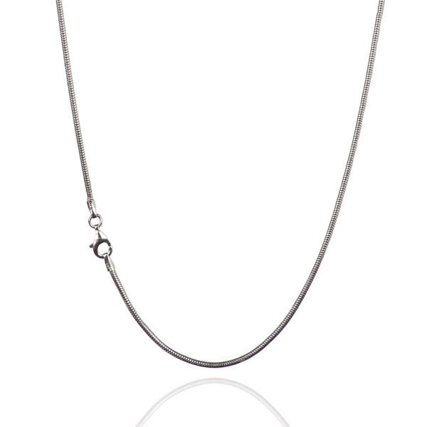 925 Sterling Silver 1.60 mm REAL Snake Chain Necklace With Pear Shape Clasp-RHODIUM FINISH